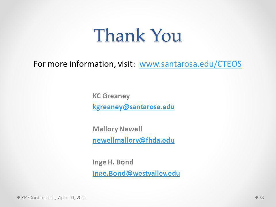 Thank You KC Greaney kgreaney@santarosa.edu Mallory Newell newellmallory@fhda.edu Inge H.