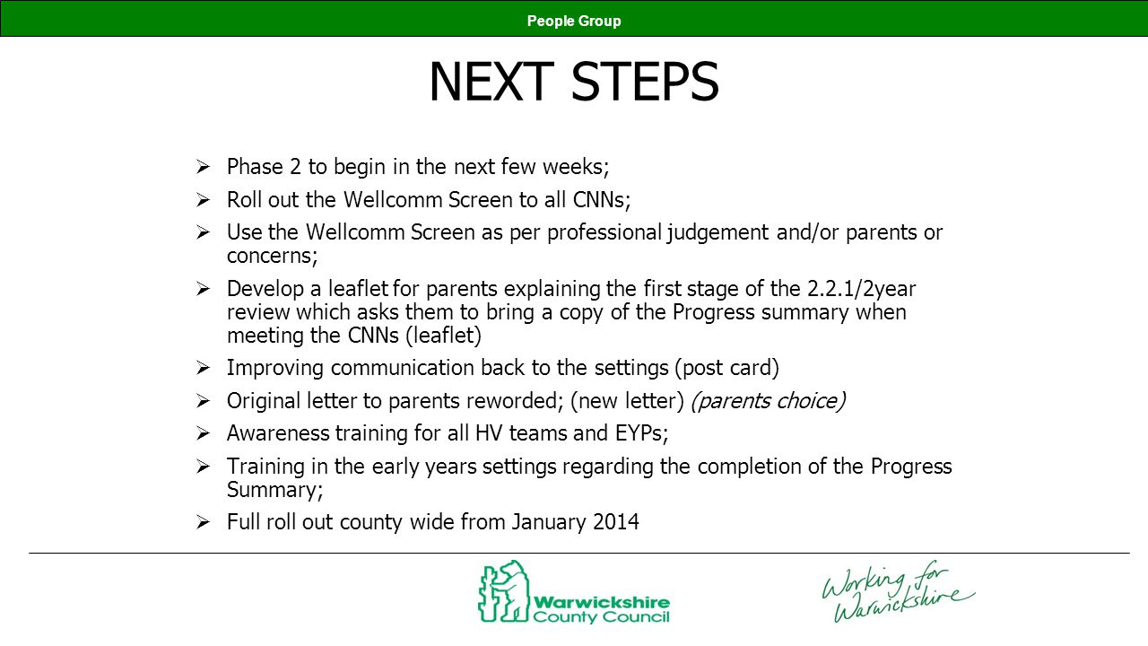 People Group NEXT STEPS Phase 2 to begin in the next few weeks; Roll out the Wellcomm Screen to all CNNs; Use the Wellcomm Screen as per professional
