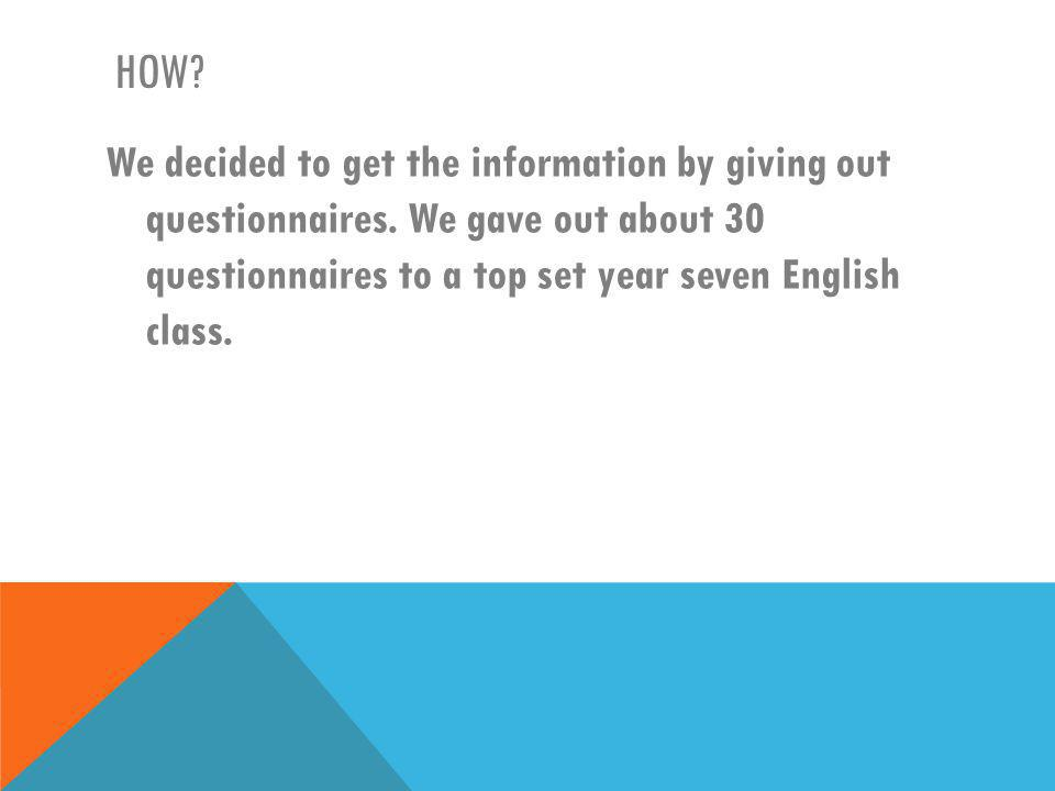 HERE ARE SOME OF OUR CLOSED QUESTIONS…