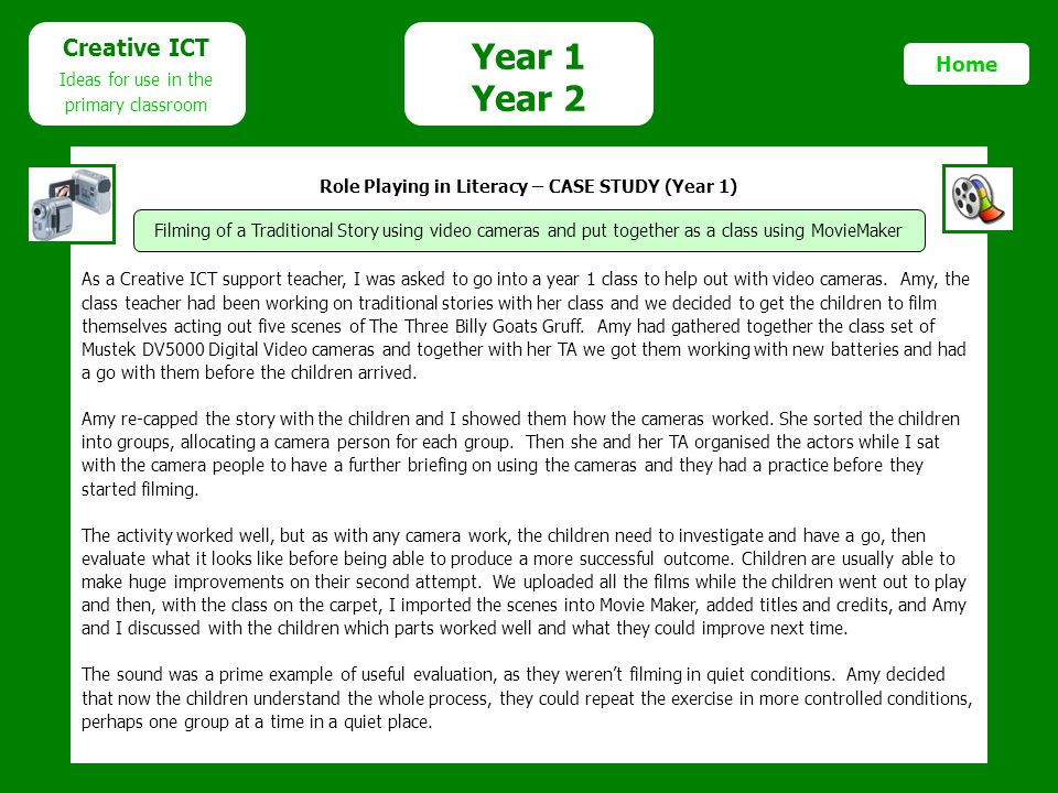 Role Playing in Literacy – CASE STUDY (Year 1) As a Creative ICT support teacher, I was asked to go into a year 1 class to help out with video cameras.