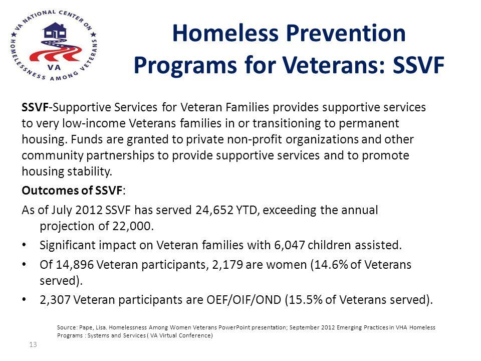 Homeless Prevention Programs for Veterans: SSVF SSVF-Supportive Services for Veteran Families provides supportive services to very low-income Veterans