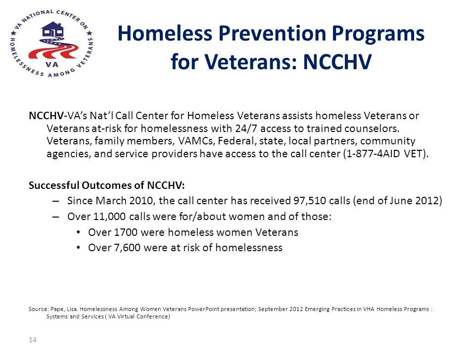 Homeless Prevention Programs for Veterans: NCCHV NCCHV-VAs Natl Call Center for Homeless Veterans assists homeless Veterans or Veterans at-risk for ho