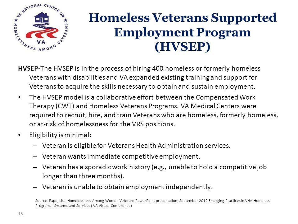 Homeless Veterans Supported Employment Program (HVSEP) 15 HVSEP-The HVSEP is in the process of hiring 400 homeless or formerly homeless Veterans with