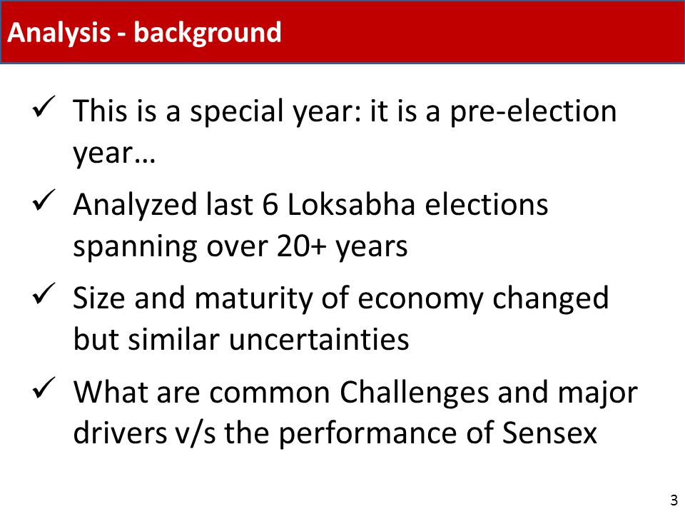 Analysis - background This is a special year: it is a pre-election year… Analyzed last 6 Loksabha elections spanning over 20+ years Size and maturity