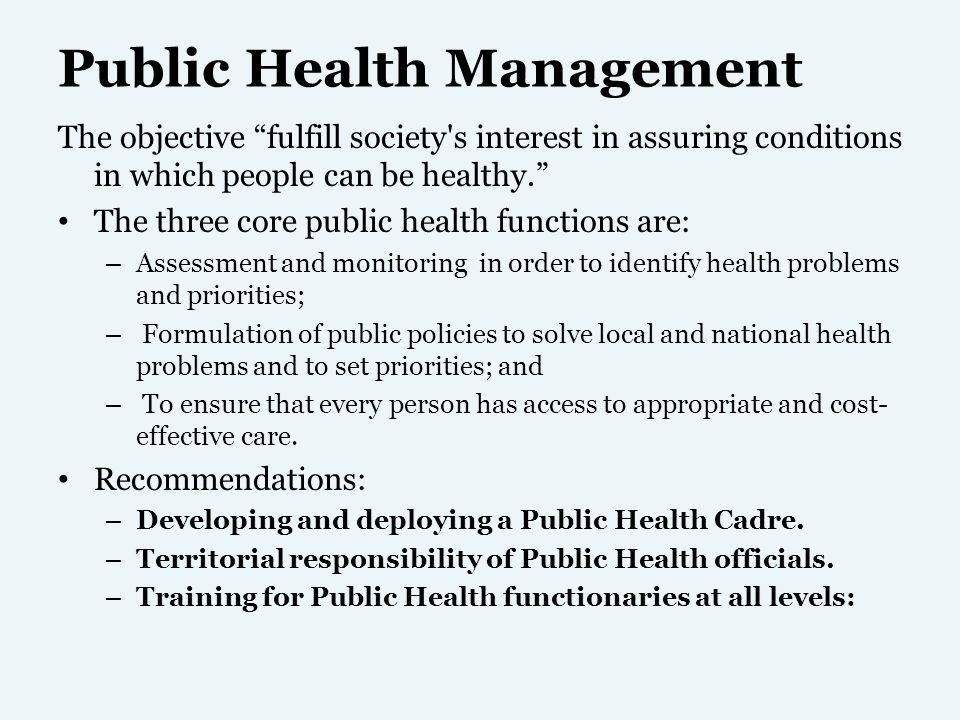 Decentralization of responsibilities by involving Local Self- Government Bodies: Regular, institution based health checks: Attention to balanced nutrition: Health Education campaign: Standards, regulations and Acts for public health: Enhancing community participation in planning, implementation, monitoring and evaluation Occupational health: