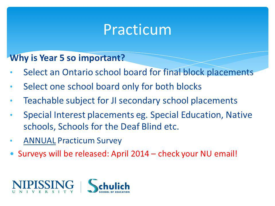 Practicum Why is Year 5 so important.