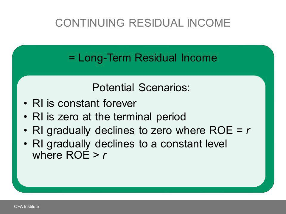 CONTINUING RESIDUAL INCOME = Long-Term Residual Income Potential Scenarios: RI is constant forever RI is zero at the terminal period RI gradually decl