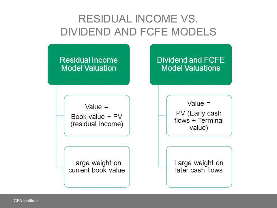 RESIDUAL INCOME VS. DIVIDEND AND FCFE MODELS Residual Income Model Valuation Value = Book value + PV (residual income) Large weight on current book va