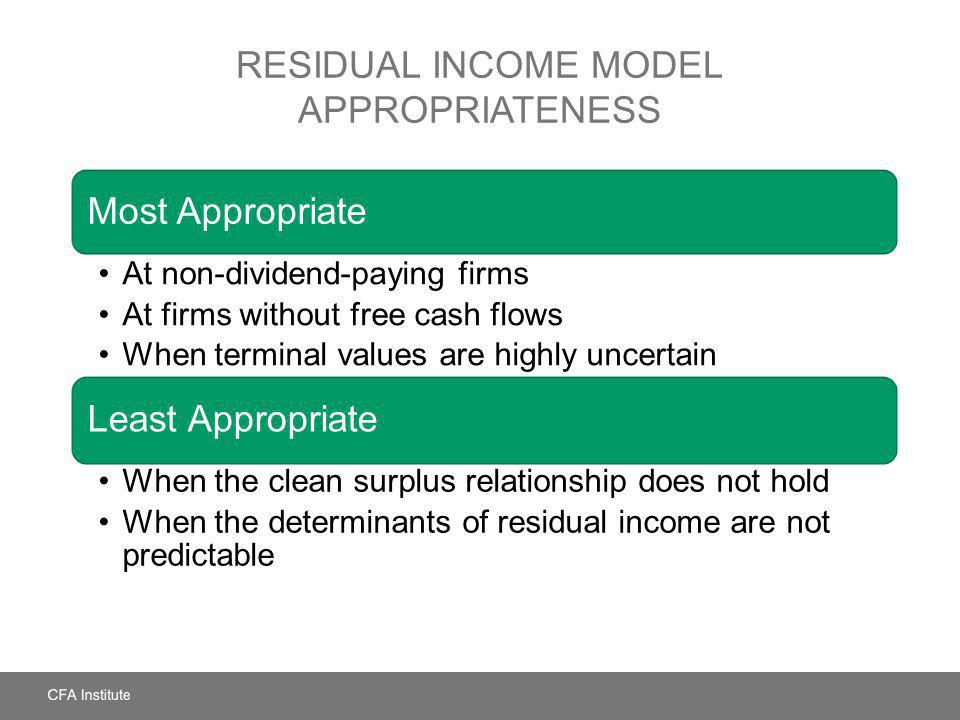RESIDUAL INCOME MODEL APPROPRIATENESS Most Appropriate At non-dividend-paying firms At firms without free cash flows When terminal values are highly u