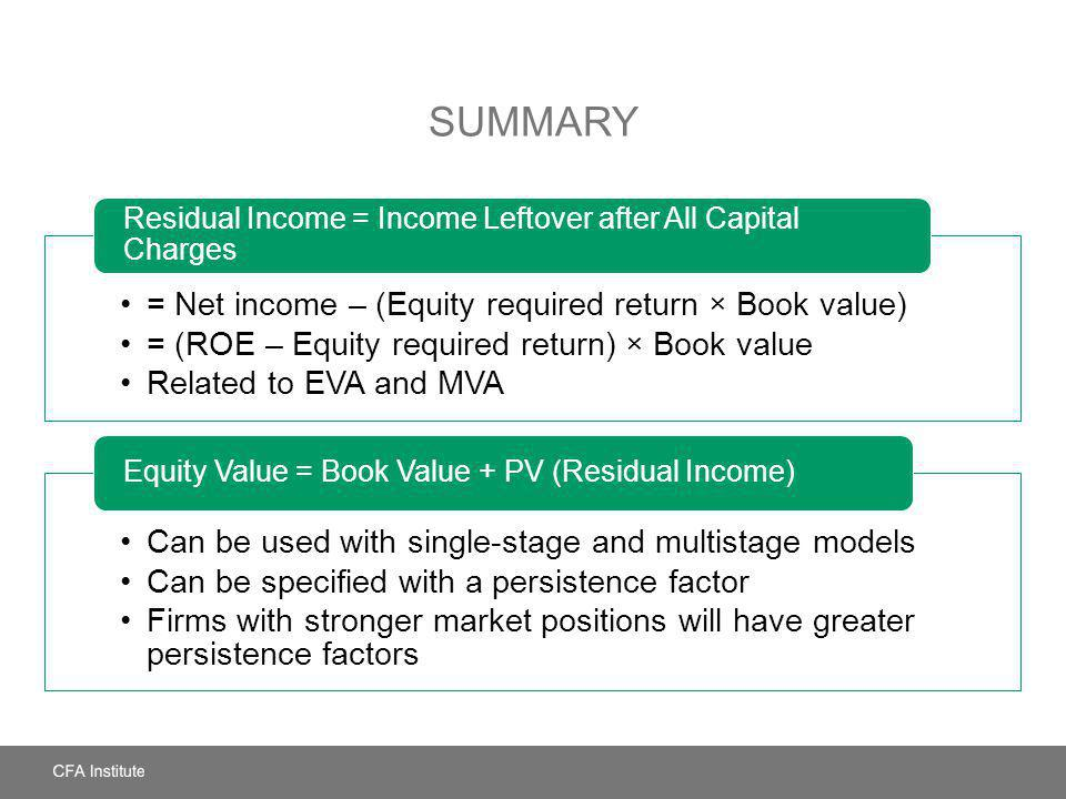 SUMMARY = Net income – (Equity required return × Book value) = (ROE – Equity required return) × Book value Related to EVA and MVA Residual Income = In