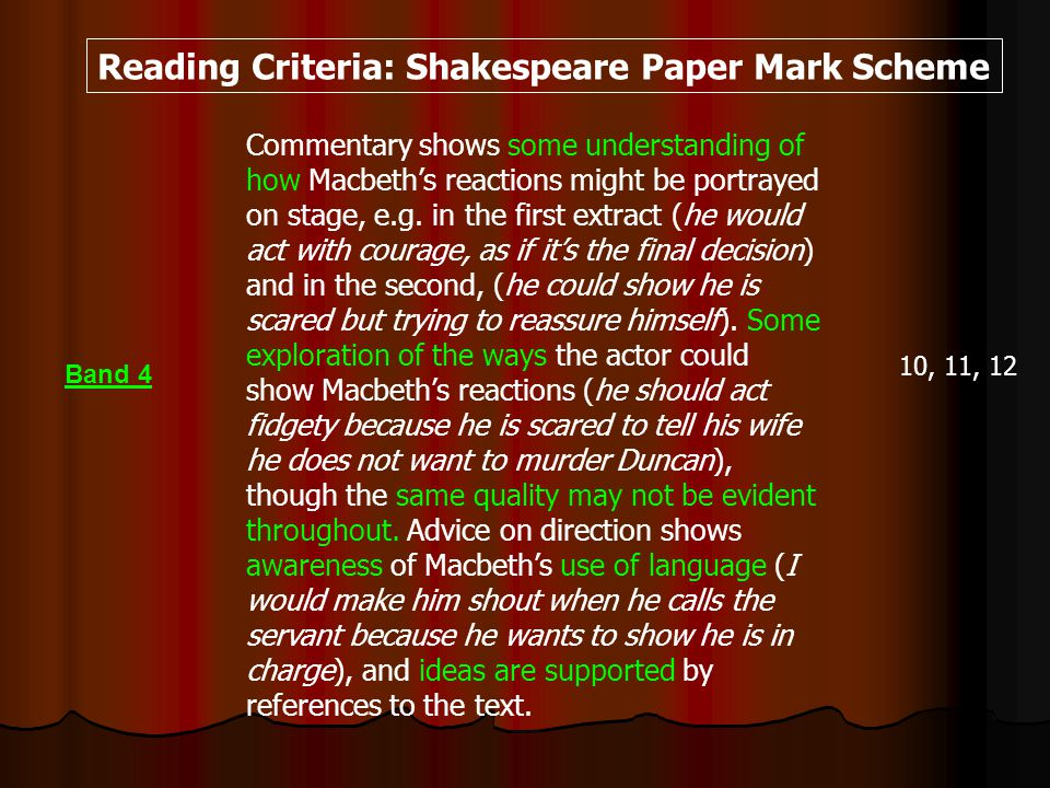 Commentary shows some understanding of how Macbeths reactions might be portrayed on stage, e.g.