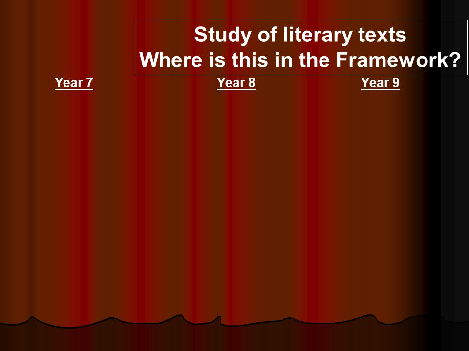 Study of literary texts Where is this in the Framework Year 7Year 8Year 9