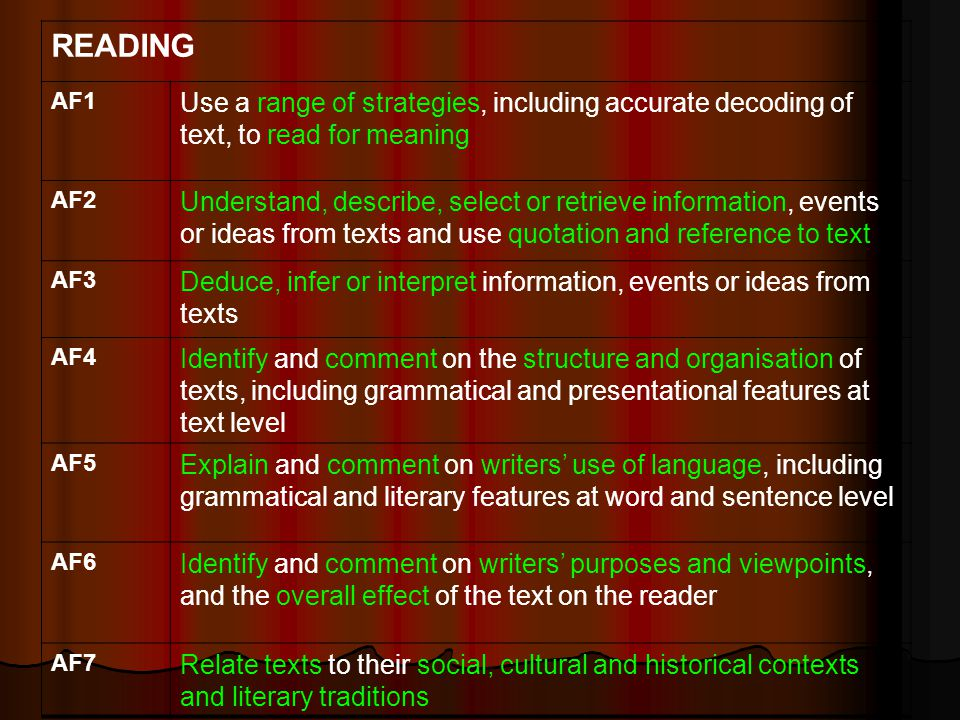 READING AF1 Use a range of strategies, including accurate decoding of text, to read for meaning AF2 Understand, describe, select or retrieve information, events or ideas from texts and use quotation and reference to text AF3 Deduce, infer or interpret information, events or ideas from texts AF4 Identify and comment on the structure and organisation of texts, including grammatical and presentational features at text level AF5 Explain and comment on writers use of language, including grammatical and literary features at word and sentence level AF6 Identify and comment on writers purposes and viewpoints, and the overall effect of the text on the reader AF7 Relate texts to their social, cultural and historical contexts and literary traditions