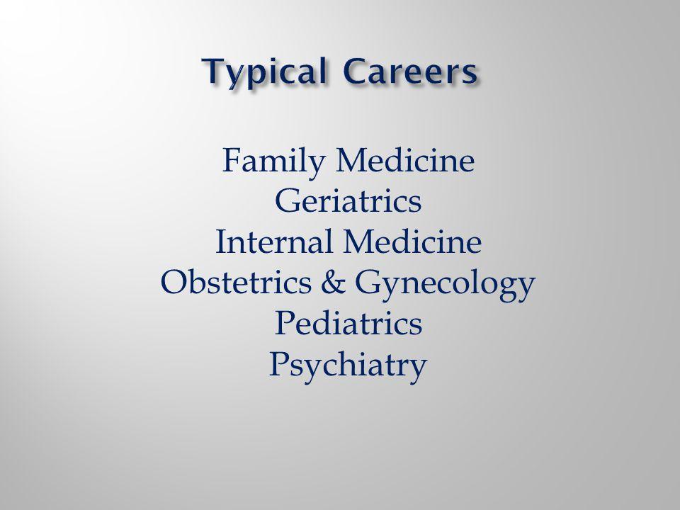 Family Medicine Geriatrics Internal Medicine Obstetrics & Gynecology Pediatrics Psychiatry
