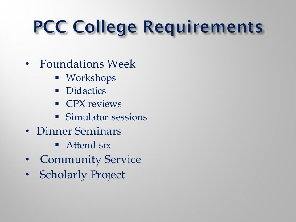 Foundations Week Workshops Didactics CPX reviews Simulator sessions Dinner Seminars Attend six Community Service Scholarly Project