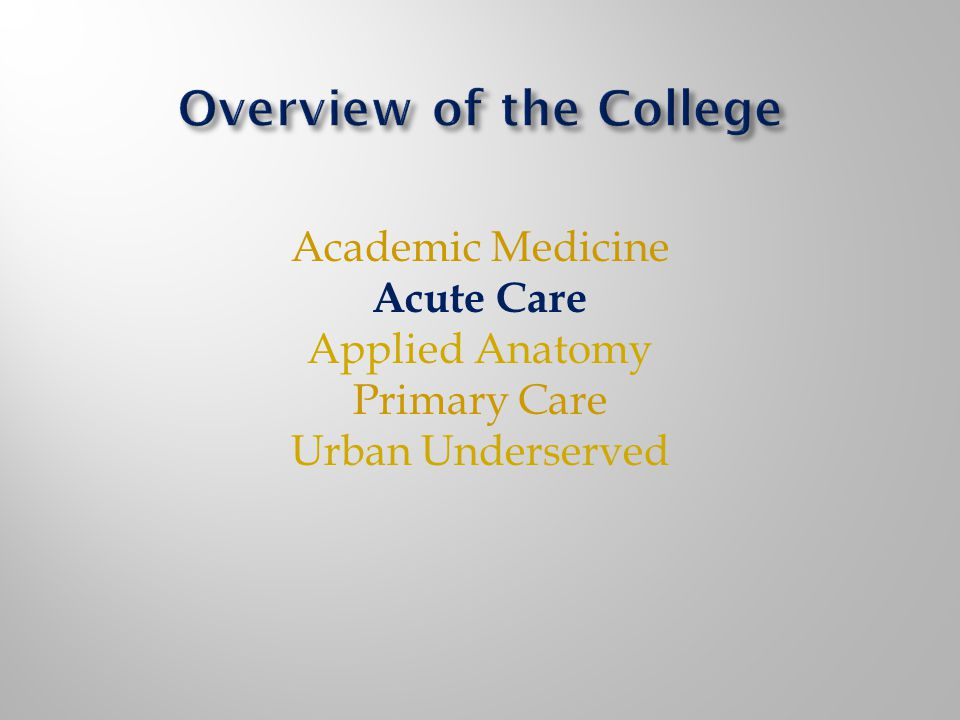 Academic Medicine Acute Care Applied Anatomy Primary Care Urban Underserved