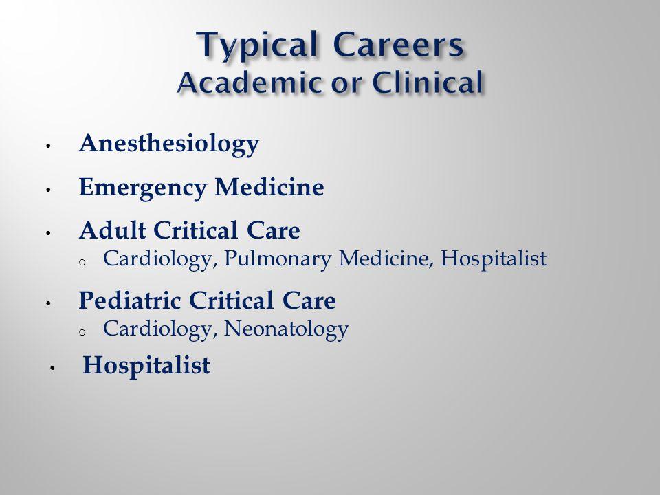 Anesthesiology Emergency Medicine Adult Critical Care o Cardiology, Pulmonary Medicine, Hospitalist Pediatric Critical Care o Cardiology, Neonatology