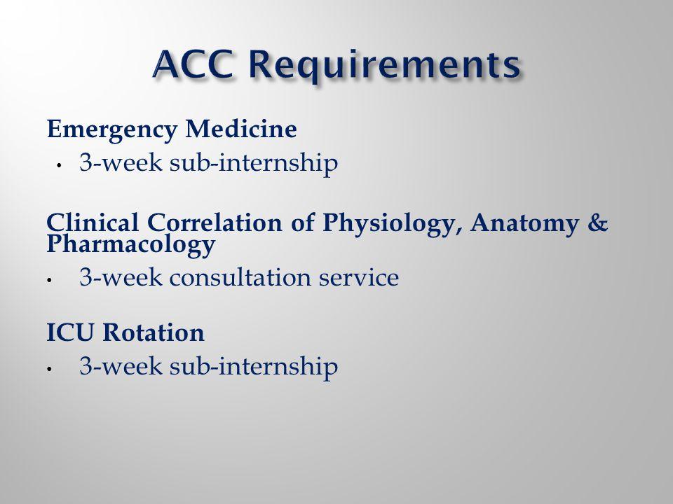 Emergency Medicine 3-week sub-internship Clinical Correlation of Physiology, Anatomy & Pharmacology 3-week consultation service ICU Rotation 3-week su