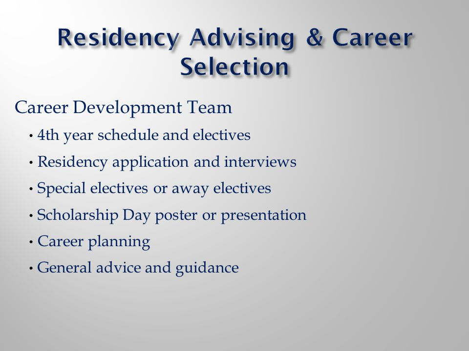 Career Development Team 4th year schedule and electives Residency application and interviews Special electives or away electives Scholarship Day poster or presentation Career planning General advice and guidance