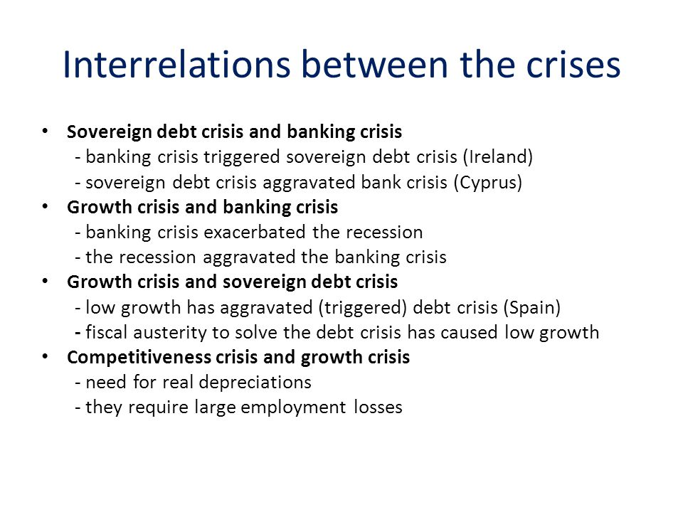 Interrelations between the crises Sovereign debt crisis and banking crisis - banking crisis triggered sovereign debt crisis (Ireland) - sovereign debt crisis aggravated bank crisis (Cyprus) Growth crisis and banking crisis - banking crisis exacerbated the recession - the recession aggravated the banking crisis Growth crisis and sovereign debt crisis - low growth has aggravated (triggered) debt crisis (Spain) - fiscal austerity to solve the debt crisis has caused low growth Competitiveness crisis and growth crisis - need for real depreciations - they require large employment losses