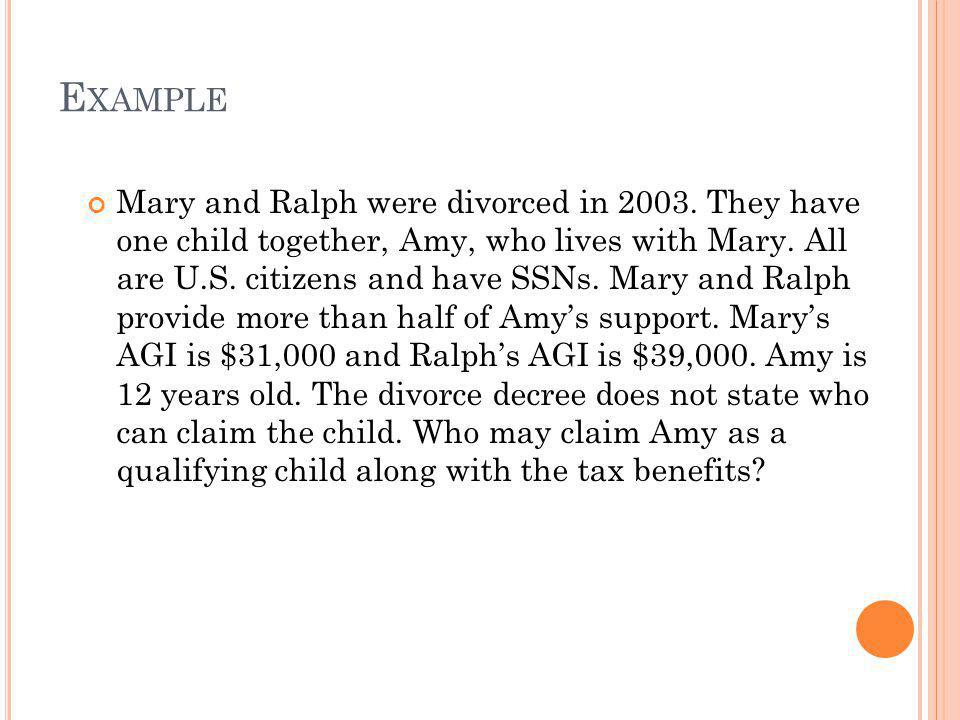 E XAMPLE Mary and Ralph were divorced in 2003. They have one child together, Amy, who lives with Mary. All are U.S. citizens and have SSNs. Mary and R