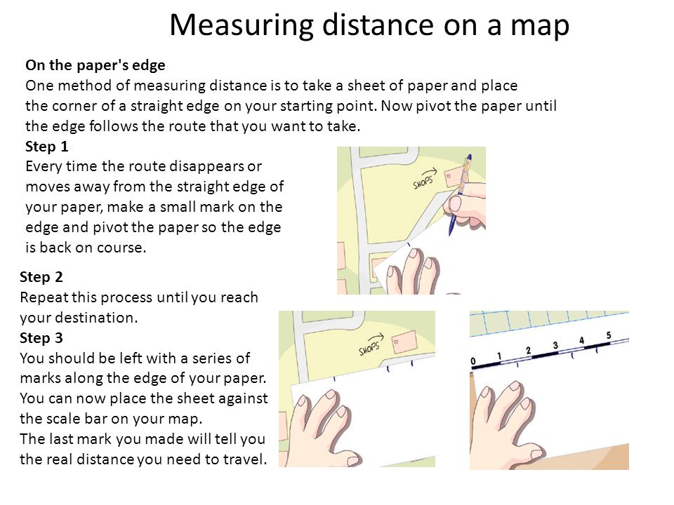 Step 2 Repeat this process until you reach your destination. Step 3 You should be left with a series of marks along the edge of your paper. You can no