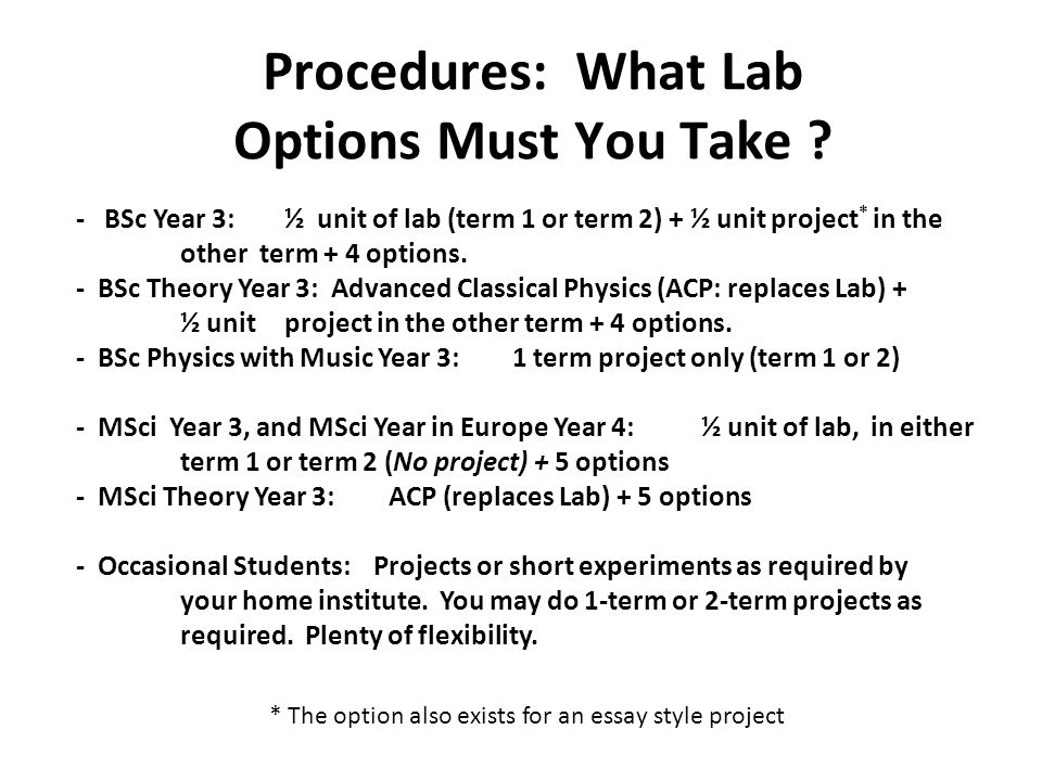 Procedures: What Lab Options Must You Take .