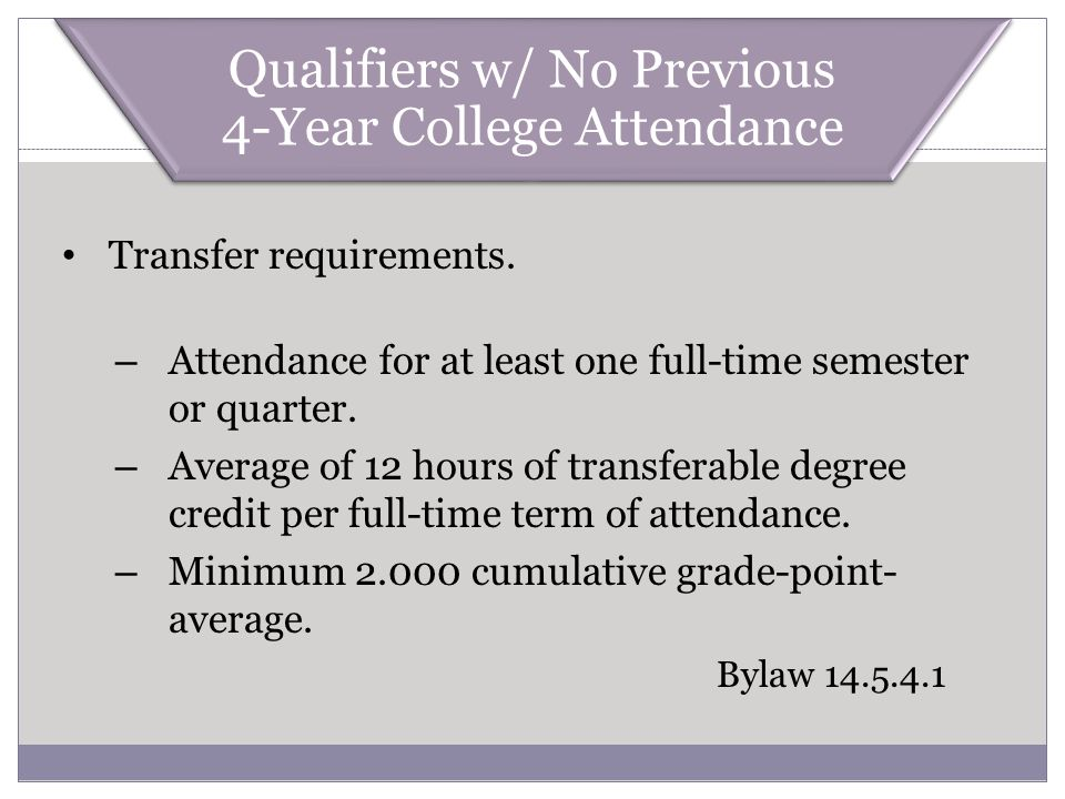 Transfer requirements. – Attendance for at least one full-time semester or quarter. – Average of 12 hours of transferable degree credit per full-time