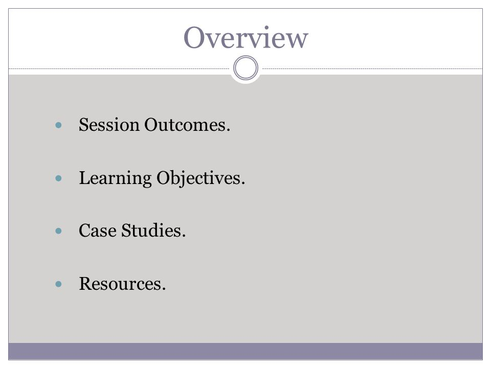 Overview Session Outcomes. Learning Objectives. Case Studies. Resources.