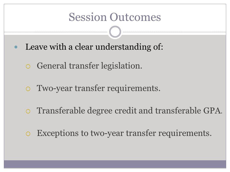 Learning Objectives Understand general transfer legislation, including triggers.