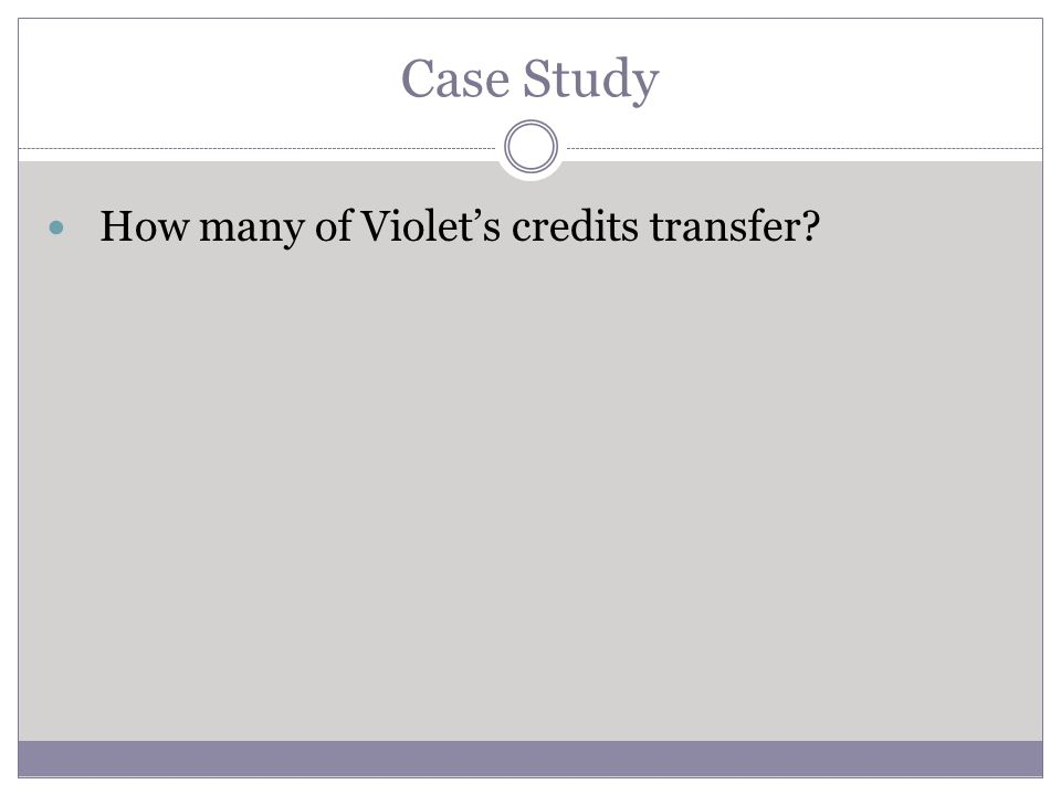 Case Study How many of Violets credits transfer?