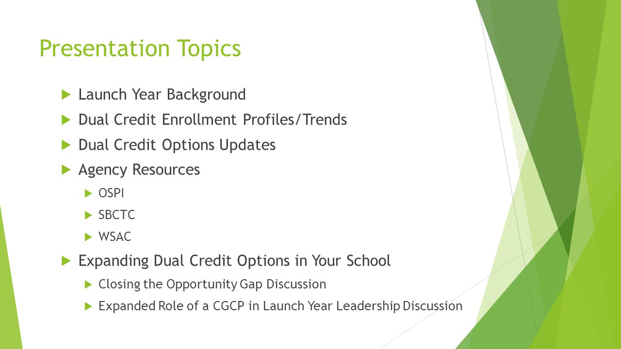 Presentation Topics Launch Year Background Dual Credit Enrollment Profiles/Trends Dual Credit Options Updates Agency Resources OSPI SBCTC WSAC Expanding Dual Credit Options in Your School Closing the Opportunity Gap Discussion Expanded Role of a CGCP in Launch Year Leadership Discussion