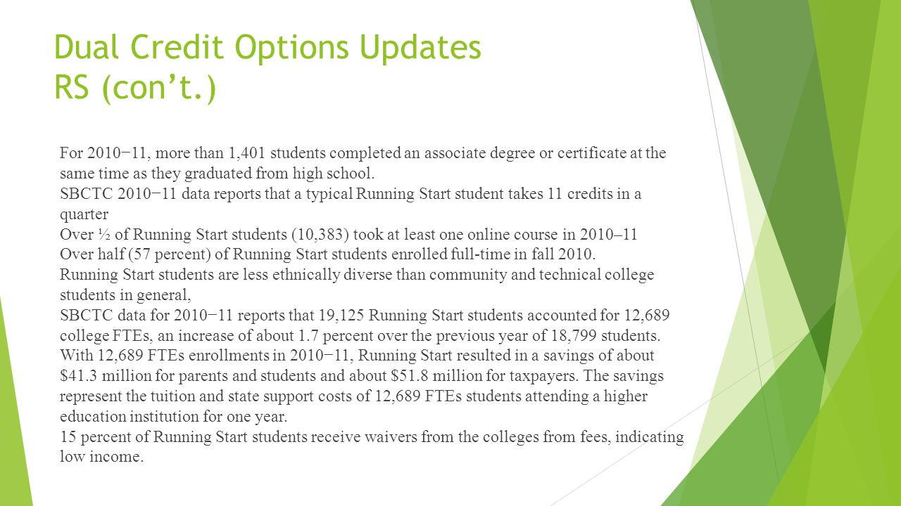 Dual Credit Options Updates RS (cont.) For 201011, more than 1,401 students completed an associate degree or certificate at the same time as they graduated from high school.