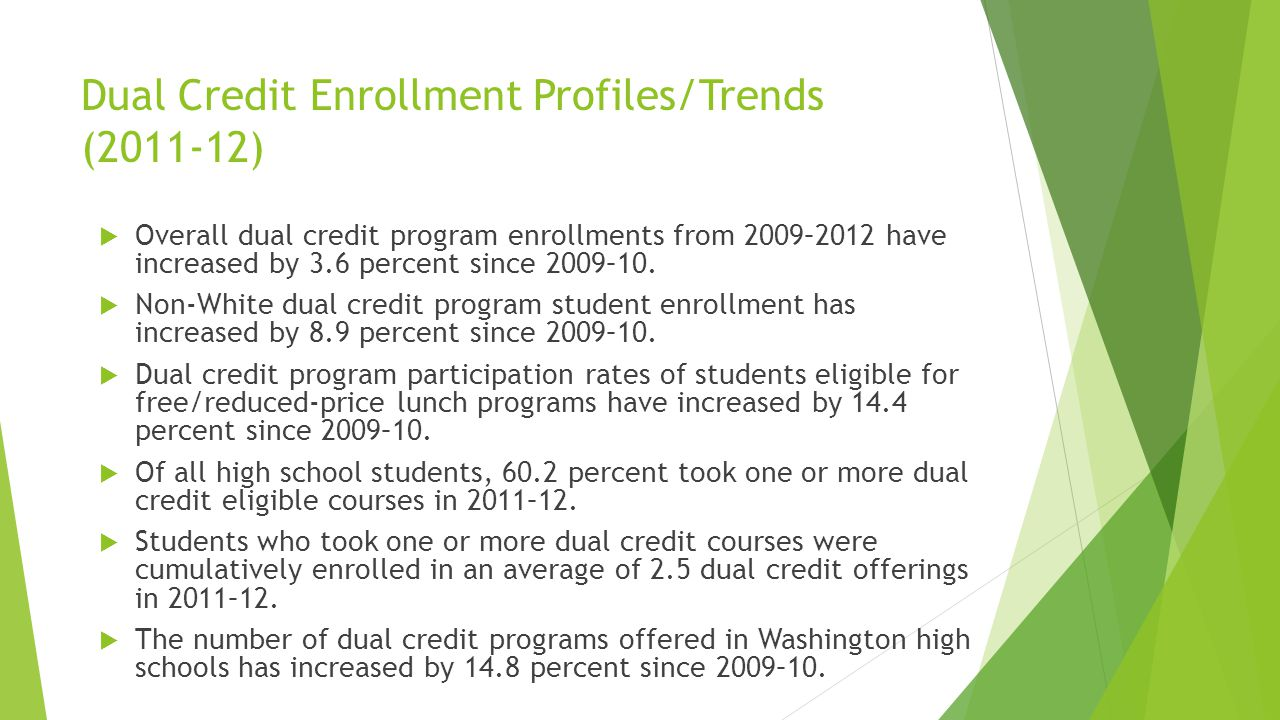 Dual Credit Enrollment Profiles/Trends (2011-12) Overall dual credit program enrollments from 2009–2012 have increased by 3.6 percent since 2009–10.