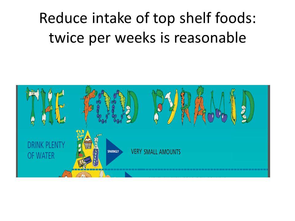 Reduce intake of top shelf foods: twice per weeks is reasonable