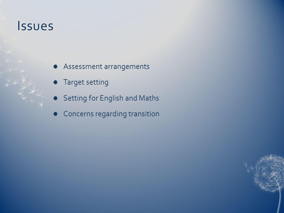 Issues Assessment arrangements Target setting Setting for English and Maths Concerns regarding transition