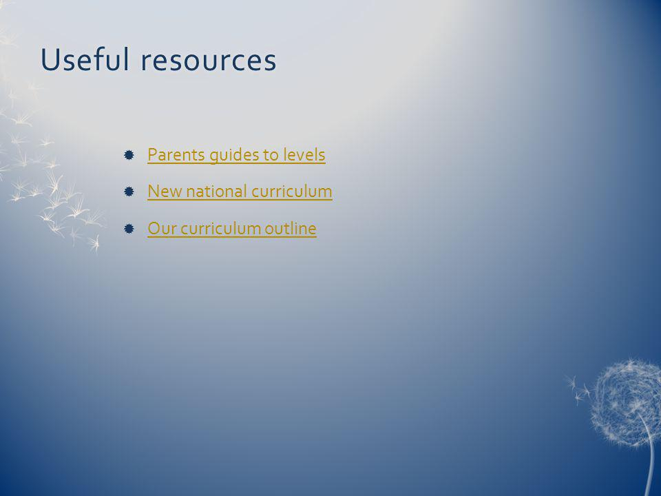 Useful resourcesUseful resources Parents guides to levels New national curriculum Our curriculum outline