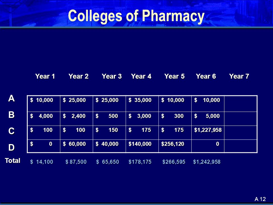 A 12 Colleges of Pharmacy $ 10,000 $ 25,000 $ 35,000 $ 10,000 $ 4,000 $ 2,400 $ 500 $ 3,000 $ 300 $ 5,000 $ 100 $ 150 $ 175 $1,227,958 $ 0 $ 60,000 $ 40,000 $140,000$256,120 0 ABCD Year 1 Year 2 Year 3 Year 4 Year 5 Year 6 Year 7 $ 14,100 $ 87,500 $ 65,650 $178,175 $266,595 $1,242,958 Total