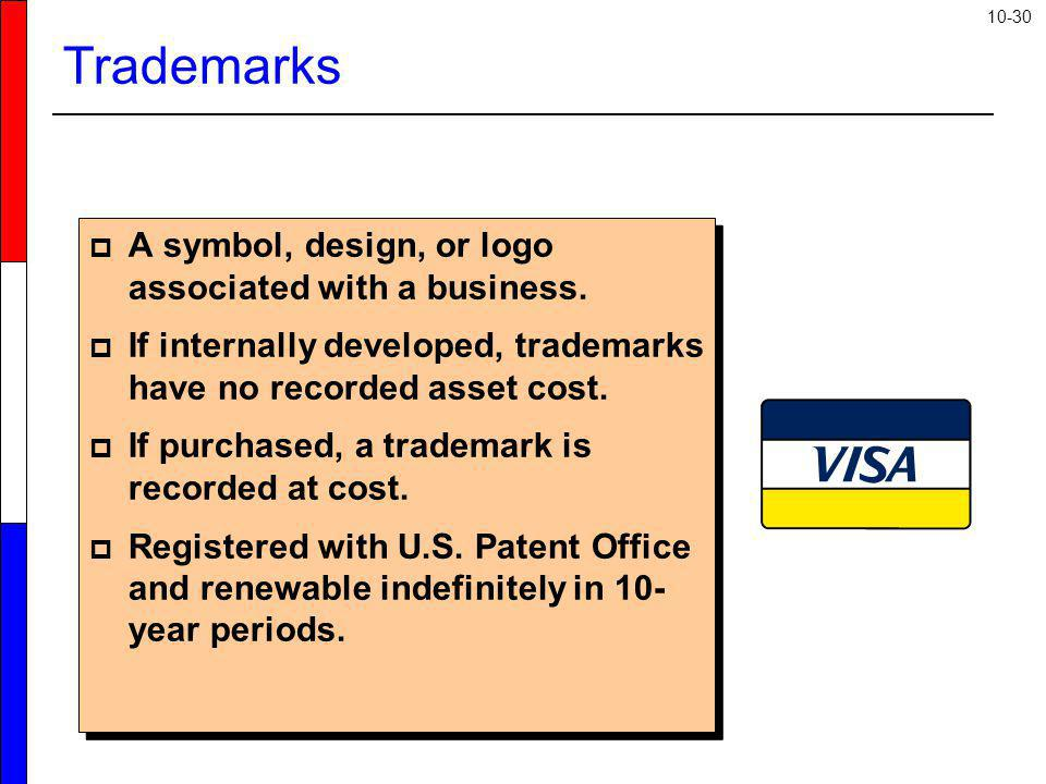 10-30 A symbol, design, or logo associated with a business. If internally developed, trademarks have no recorded asset cost. If purchased, a trademark