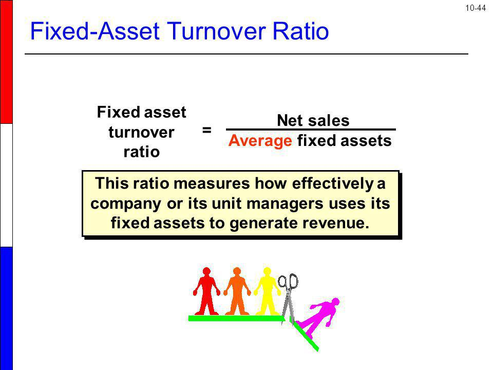 10-44 Fixed-Asset Turnover Ratio This ratio measures how effectively a company or its unit managers uses its fixed assets to generate revenue. Net sal