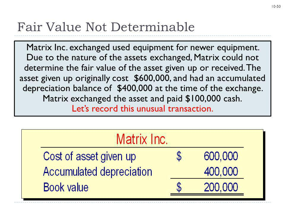 10-50 Fair Value Not Determinable Matrix Inc.exchanged used equipment for newer equipment.