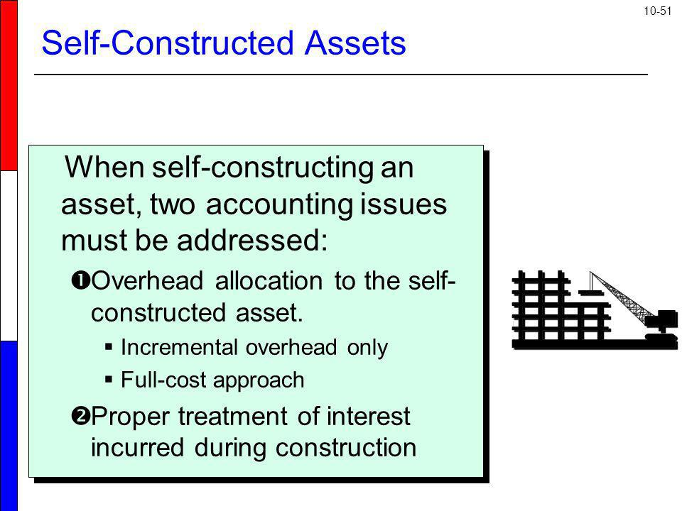 10-51 Self-Constructed Assets When self-constructing an asset, two accounting issues must be addressed: Overhead allocation to the self- constructed a