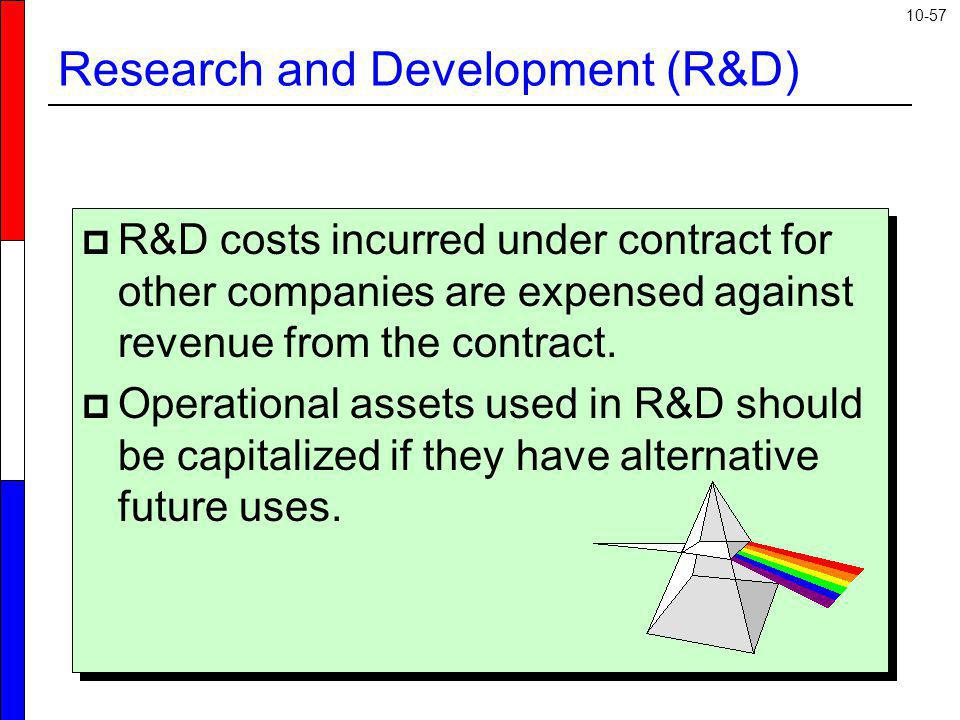 10-57 R&D costs incurred under contract for other companies are expensed against revenue from the contract. Operational assets used in R&D should be c