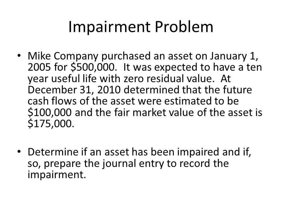 Impairment Problem Mike Company purchased an asset on January 1, 2005 for $500,000.