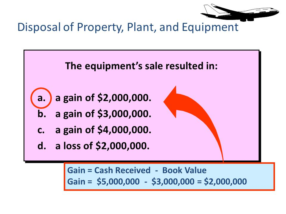 The equipments sale resulted in: a.a gain of $2,000,000.