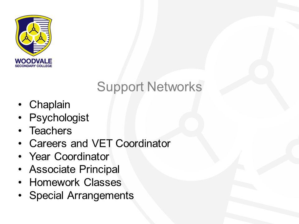 Support Networks Chaplain Psychologist Teachers Careers and VET Coordinator Year Coordinator Associate Principal Homework Classes Special Arrangements