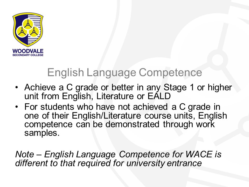 WACE - 2015 Important Considerations –External exams for Stage 3 are compulsory unless students qualify for and are granted exemption –Students electing not to sit Stage 2 examinations must apply for exemption –There is a significant difference between the achievement standard required for WACE and that required for uni and some TAFE courses.