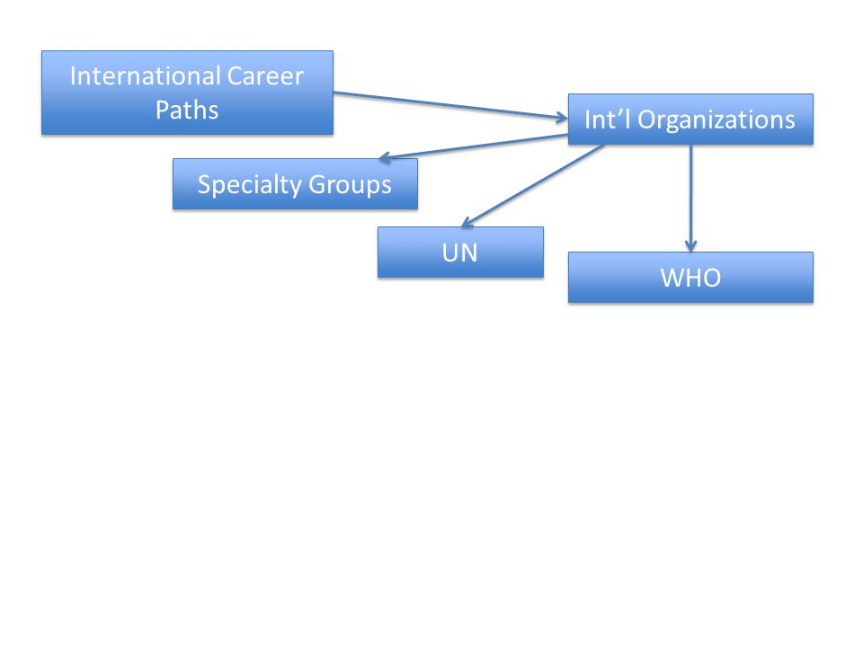 International Career Paths Intl Organizations UN WHO Specialty Groups