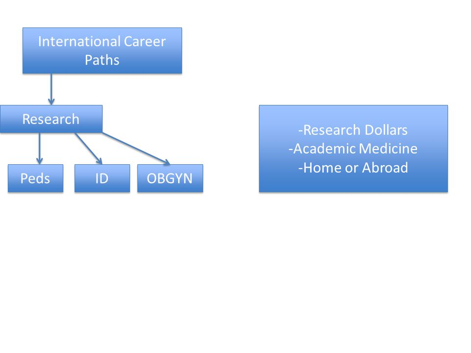 International Career Paths Research Peds ID OBGYN -Research Dollars -Academic Medicine -Home or Abroad -Research Dollars -Academic Medicine -Home or Abroad