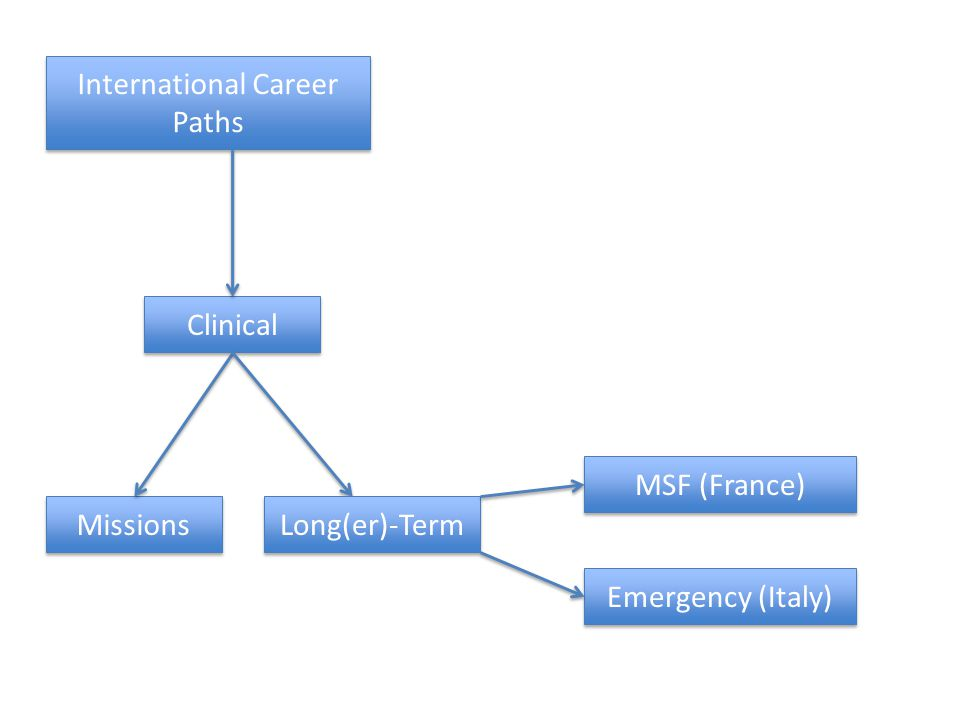 International Career Paths Clinical Missions Long(er)-Term MSF (France) Emergency (Italy)